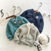 Plain coat Mr Littlelittle male 90cm,100cm,110cm,120cm,130cm,140cm winter leisure time Zipper shirt No model Plush nothing Solid color cotton Crew neck 17D11876 Cotton 55.2% polyester 44.8% Class B