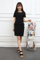 Women's large black Dress Fake two pieces commute Self cultivation moderate Conjoined Short sleeve Solid color Ol style other Medium length polyester fiber Three dimensional cutting routine Meng Wei's Poems 30% and below longuette other