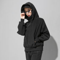 Sweater / sweater Winter of 2019 black L, M Long sleeves routine Socket singleton  thickening Hood easy street Bat sleeve Solid color 25-29 years old Splicing zipper Europe and America