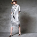 Dress Summer 2016 Black and white stripes S. M, l, delivery within 2-4 days Mid length dress singleton  elbow sleeve street V-neck Loose waist Solid color Socket other Lotus leaf sleeve Others 25-29 years old Type H Pockets, stitching More than 95% other hemp hippie