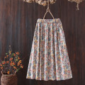 skirt Spring 2021 Average size Beige flowers, light blue flowers longuette commute Natural waist A-line skirt Decor Type A 25-29 years old cotton printing