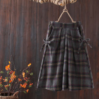 skirt Winter 2020 Average size Grey bottom lattice , Tibetan Plaid longuette commute High waist A-line skirt lattice Type A 25-29 years old polyester fiber Frenulum