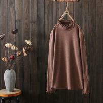 T-shirt Black, coffee, white, apricot, blue Average size Long sleeves High collar easy Regular routine commute cotton 51% (inclusive) - 70% (inclusive) 25-29 years old classic Solid color Splicing