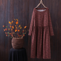 Dress Spring 2020 Coffee color, Navy color, purple gray color Average size Mid length dress Long sleeves routine