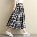 skirt Spring 2021 One size fits all (elastic waist) Mid length dress Versatile Natural waist A-line skirt lattice Type A cotton