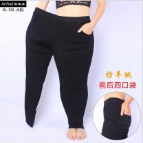 Casual pants Black spring and autumn, Navy spring and autumn, black plush, Navy plush S. M, l, XL, 2XL, 3XL, 4XL, 5XL, 6xl, 7XL (220-240kg) Autumn 2016 trousers Pencil pants High waist routine 96% and above Other / other Cotton blended fabric