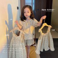 Home suit Chen Chen's mother 80, 90, 100 (model), 110, 120, 130, 140 Suspender skirt, suspender, jacket, shorts summer female Other 100% 12 months, 18 months, 2 years old, 3 years old, 4 years old, 5 years old other Y3023