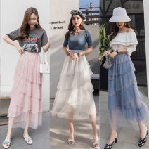 skirt Summer of 2019 Average size White, blue, pink Mid length dress fresh High waist Cake skirt Type A Other / other Gauze