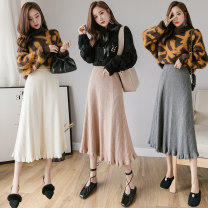 skirt Winter of 2019 Average size Khaki, apricot, grey, black longuette commute High waist Ruffle Skirt Solid color knitting Other / other Korean version