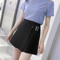 Casual pants White, black S,M,L,XL,2XL Summer 2020 shorts Wide leg pants High waist commute routine other Korean version rivet polyester fiber Asymmetry