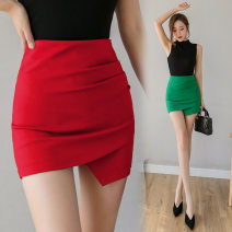 skirt Summer 2020 S,M,L,XL,2XL,3XL Red, green, black Short skirt Versatile High waist Irregular Solid color Type O 25-29 years old 31% (inclusive) - 50% (inclusive) brocade cotton 351g / m ^ 2 (including) - 400g / m ^ 2 (including)