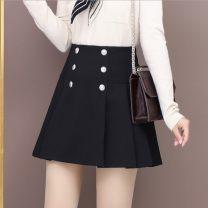 skirt Spring 2021 S,M,L,XL,2XL black Short skirt commute High waist A-line skirt Solid color Type A 91% (inclusive) - 95% (inclusive) brocade nylon Korean version