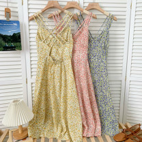 Dress Summer 2021 Pink, blue, purple, yellow Average size Middle-skirt singleton  Sleeveless High waist other routine camisole Type A other