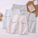 skirt Summer 2020 S,M,L,XL Short skirt High waist A-line skirt Solid color Type A 30% and below other