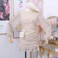 Dress Autumn of 2019 M, L Short skirt singleton  Long sleeves Crew neck High waist Ruffle Skirt Others Type A 31% (inclusive) - 50% (inclusive)