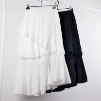 skirt Spring 2021 Average size White, black, yellow, apricot Mid length dress grace High waist Ruffle Skirt Solid color Type A