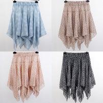 skirt Spring 2021 Average size Short skirt Versatile Natural waist Irregular Broken flowers Type A Chiffon