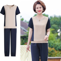 Middle aged and old women's wear Summer 2021 Beige top, Navy top XL (within 110 kg recommended), 2XL (110-125 kg recommended), 3XL (125-140 kg recommended), 4XL (140-155 kg recommended), 5XL (155-170 kg recommended) fashion suit easy Two piece set Solid color 40-49 years old Socket moderate Crew neck