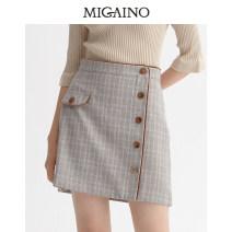 skirt Spring 2020 XS,S,M,L,XL,XXL Apricot lattice Short skirt High waist A-line skirt lattice Type A 25-29 years old MK12EA020 other Migaino / manyanu