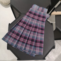 skirt Spring 2021 S,M,L,XL,2XL Smoke cloud purple lattice Short skirt Retro High waist Pleated skirt lattice Type A 18-24 years old 51% (inclusive) - 70% (inclusive) brocade cotton 61G / m ^ 2 (including) - 80g / m ^ 2 (including)