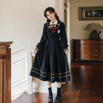 Dress Autumn 2020 S,M,L,XL Mid length dress singleton  Long sleeves commute Admiral High waist Pleated skirt 18-24 years old Retro Embroidery, zipper 3098 real shot