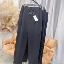 Casual pants black XL,2XL,3XL,4XL Spring 2021 trousers Straight pants High waist commute routine 25-29 years old