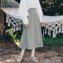 skirt Autumn of 2019 S,M,L,XL Mid length dress commute Natural waist A-line skirt Solid color Type A 71% (inclusive) - 80% (inclusive) Plain left bank cotton literature