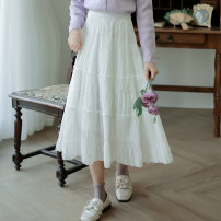 skirt Spring 2021 Average size White, apricot, black longuette commute High waist A-line skirt Solid color Type A 25-29 years old Chiffon Plain left bank polyester fiber Splicing literature
