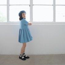 Dress Healing blue (g embroidered dress), healing blue (g embroidered dress) female Other / other 3A (100cm), 4a (110cm), 5A (120cm), 6a (130cm) model size, 8A (140cm), 10a (150cm), 12a (160cm), 14a (170cm) Other 100% summer fresh Short sleeve Solid color cotton A-line skirt Chinese Mainland