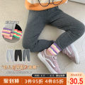 trousers Qiqi Miaomiao female 90cm,100cm,110cm,120cm,130cm Black, dark grey, flax grey spring and autumn trousers lady There are models in the real shooting Leggings Leather belt High waist Cotton blended fabric Don't open the crotch Cotton 95% polyurethane elastic fiber (spandex) 5% C211KZ012 other