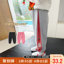 trousers Qiqi Miaomiao female 90cm,100cm,110cm,120cm,130cm Black, grey, pink spring and autumn trousers Korean version There are models in the real shooting Casual pants Leather belt middle-waisted Cotton blended fabric Cotton 84.7% polyester 15.3% other