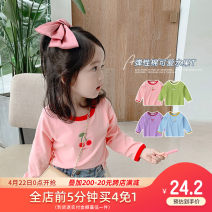 T-shirt Purple, blue, green, off white, pink, white black stripe, bean green, pink purple, yellow green, off white, pink 1, gray 1, black 1, yellow 1 Yiqi baby 90cm,100cm,110cm,120cm,130cm,140cm female spring and autumn Long sleeves Crew neck Korean version There are models in the real shooting