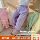 trousers Yiqi baby female 90cm,100cm,110cm,120cm,130cm Purple, green, yellow, beige, pink summer trousers personality There are models in the real shooting Casual pants Leather belt middle-waisted blending Don't open the crotch Polyester 98% polyurethane elastic fiber (spandex) 2% C111KZ002 other