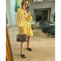 Dress Summer 2021 As shown in the figure 36,38,40 Middle-skirt Two piece set Long sleeves commute Crew neck Leopard Print Socket A-line skirt bishop sleeve 25-29 years old Type A literature More than 95% silk