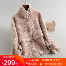 leather and fur Winter 2020 Nioloman Off white, blue, Gongmi, pink, dark fog green, oat S,M,L have cash less than that is registered in the accounts Long sleeves commute stand collar routine other wool Korean version pocket 96% and above