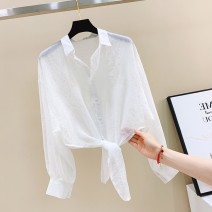 Lace / Chiffon Summer 2021 White, blue, apricot S,M,L,XL Long sleeves commute Cardigan singleton  easy have cash less than that is registered in the accounts Polo collar Solid color shirt sleeve AJSZ Korean version