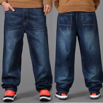 Jeans Youth fashion Others 30 (2-3), 32 (2-5), 34 (2-65), 36 (2-76), 38 (2-96), 40 (3-1), 42 (3-2), 44 (3-32), 46 (3-52) Make old blue routine No bullet Regular denim trousers Other leisure autumn Large size High waist Loose straight tube Hip hop 2020 Straight foot zipper Three dimensional tailoring
