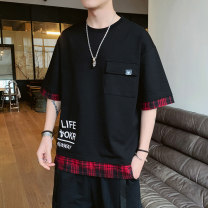 T-shirt Youth fashion Black, yellow, white, black, white, red routine M,L,XL,2XL,3XL Others Short sleeve Crew neck easy Other leisure summer A102-DS627 Polyester fiber 94.8% polyurethane elastic fiber (spandex) 5.2% teenagers like a breath of fresh air 2020 lattice