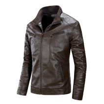 leather clothing Others Youth fashion Brown, khaki, black, Burgundy 2XL,3XL,L,XL,M,4XL routine Imitation leather clothes autumn go to work teenagers tide PY04-P75