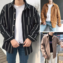 shirt Youth fashion Others M,L,XL,2XL routine stand collar Long sleeves standard go to work spring teenagers Chinese style 2018 stripe Plaid washing cotton Easy to wear