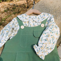 Dress Green strap (in stock), floral doll shirt (in stock) female Lalajoy / Lala Jiuyi 90cm,100cm,110cm,120cm,130cm,140cm Cotton 100% spring and autumn Korean version Long sleeves Broken flowers cotton A-line skirt
