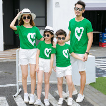 Parent child fashion White red other colors emerald green A family of three Male and female Back back rabbit thirty-four million five hundred and thirty-four thousand five hundred and thirty-four summer leisure time Thin money other Finished T-shirt cotton Cotton 95% bamboo fiber 5% Class A