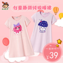 Home skirt / Nightgown Small AB 110cm 120cm 130cm 140cm 150cm 160cm Cotton 100% Pink doughnut purple cake summer female 11-13 years old 3-5 years old 5-7 years old 7-9 years old 9-11 years old Sweat absorption and moisture absorption at home Class B cotton T248 Summer of 2019