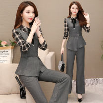 Fashion suit Autumn of 2019 M. L, XL, XXL, XXXL, take 20 rolls, take 20 rolls, reduce by 20, shopping cart + collection + pay attention to the store, enjoy priority delivery Tartan grey Over 35 years old BP01 51% (inclusive) - 70% (inclusive) cotton