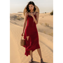 Dress Summer 2020 Y red Samba skirt S M L longuette singleton  V-neck Loose waist Solid color zipper Big swing camisole 18-24 years old Type A Ancient times zipper M2191Q10139 More than 95% other Other 100%