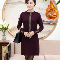 Middle aged and old women's wear Winter 2020, autumn 2020 L,XL,XXL,XXXL,4XL noble Dress easy singleton  Solid color 40-49 years old Socket thickening stand collar Medium length routine Rose lotus Diamond inlay 51% (inclusive) - 70% (inclusive) Middle-skirt wool skirt