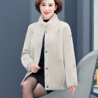 Middle aged and old women's wear Spring 2021, autumn 2021 M,L,XL,XXL,XXXL,4XL,5XL fashion Jacket / jacket easy singleton  Solid color 40-49 years old Cardigan moderate stand collar Short (length 35-50cm) routine Rose lotus Nail bead Cashmere 96% and above Single breasted