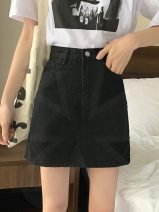 skirt Summer 2020 S,M,L,XL D57-e-white, j10-m-black Short skirt commute High waist A-line skirt Solid color Type A 18-24 years old I56179 31% (inclusive) - 50% (inclusive) Denim Other / other Korean version