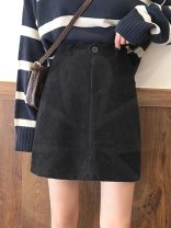 skirt Autumn 2020 S,M,L N89-e-brown, m34-r-black Short skirt commute High waist A-line skirt Solid color Type A 18-24 years old Q23158 31% (inclusive) - 50% (inclusive) other Other / other other Button Korean version