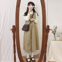 Dress Winter of 2018 Black strap skirt, light Khaki strap skirt, pickle Green Corduroy shirt Graph color Two piece set Long sleeves commute 18-24 years old Other Korean version 51% (inclusive) - 70% (inclusive)